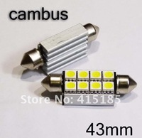 Freeshipping 39mm 41mm 42mm 8SMD dome bulb festoon 2pcs/lot+ Bright White+heat sink C5W LED Canbus No Error car bulb light