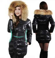 free shipping 2012 new woman large luxury  medium-long down coat with large genuine fur collar down jacket