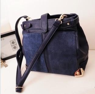 Designer Handbags High Quality 2013 Ladies Leather Handbag Women's Bucket Messenger Bag Crossbody Shoulder Bags Dark Blue