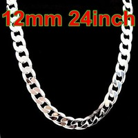 XMAS 925 Silver Necklace 12mm 1:1 For Men's Curb Figaro Chain Necklaces Fashion Jewelry Free Shipping