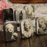 New 2014 Novelty Jewelry Box Organizer 6pcs/set Clasic Primary Color Marilyn Monroe 5.8*3.8*1.6cm Storage Iron Case Tin Box
