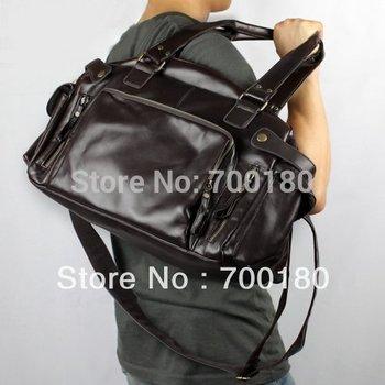 Free Shipping Kangaroo PU Leather LargeTravel Carry On Shoulder Messenger Bag Men Casual Handbag Vintage Tote Bag BG167