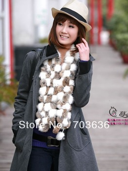 Free shopping new 2013 women Autumn and winter fur scarf high quality rabbit fur volleyball thermal scarf cape muffler scarf