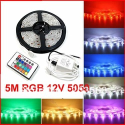 High Quality Waterproof 5M RGB 12V 5050 SMD 150 LED Flexible Strip Colorful Flash Light With Remote Control Xmas Decoration(China (Mainland))