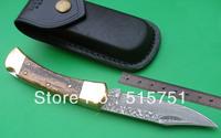 (Damascus steel)Custom Handmade Buck 110 fixed knife,Cross Lock,leather sheath ,wood handle,free shipping