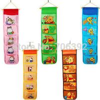 Retail Free Shipping Cartoon Wall Hanging Bag/Cartoon Single 5 Pockets Storage Bag/Organizer Bag 1pcs/lot