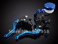Universal Motorcycle Blue Brake Clutch Master Cylinder Set Kit Reservoir Levers
