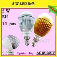 screw in led light bulb (E14 socket)_free shipping 5w led light all kinds of colors_golden/silver lamp shell