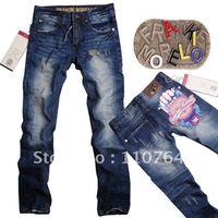 Frankie Morello Top Men's Brand Jeans Distressed / Scratch Designer Water Washing Straight Jeans Hot Sale in Autumn&Winter