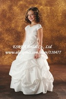 Popular A-line White Taffeta Beaded Ruched Flower Girl Dresses Short Sleeve HS082 Pageant Wedding Party Gowns