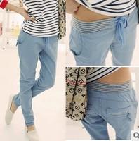 Z087 Free Shipping Blue Beige Women's comfortable Haren pants cheap feet casual cotton pants
