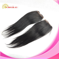 Sunnymay Newest natural straight natural color hot sale super quality virgin Peruvian hair 4x4 lace closure with pu in stock
