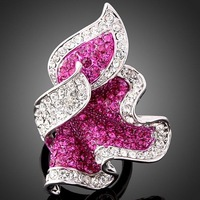 Arinna purple ring  Amethyst  Crystal petal GP Fashion Ring Rhinestone Crystals  element Flower Ring  J0095