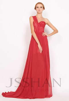 12P020 Celebrity One Shoulder Ruched Banded Waist Flowing A-Line Elegant Gorgeous Luxury Unique Evening Dress Red Prom Dress