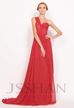 2014 New Arrival Celebrity One Shoulder Ruched Banded Waist Flowing A-Line Elegant Unique Evening Dress Red Prom Dress