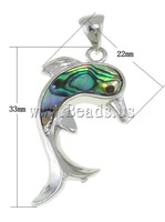 Shell Brass Pendants, Animal, dolphin shape, abalone shell, 22x33x4.5mm, Hole:Approx 7x5mm, 10PCs/Bag, Sold by Bag