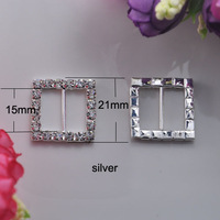 (S0003) 15mm inner bar Rhinestone buckle, Quality upgrade! 100pcs/lot, silver or gold plating