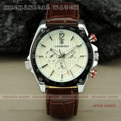 Free shipping Date Day White Dial Racing Sport Style Leather Automatic Mechanical Men Watch U0133-P(China (Mainland))
