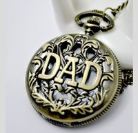 1 Pcs, Father's Day Gift Bronze Quartz Pocket Watch,hot sale,necklace with Chain (WA004)