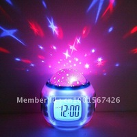 Free Shipping New Sky Star Night Light Projector Lamp Bedroom Alarm Clock W/music Children gifts