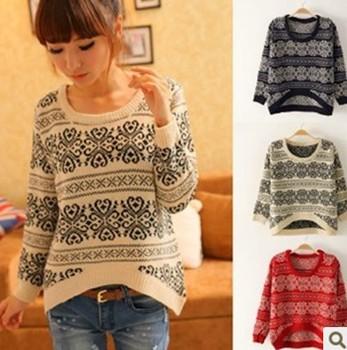 Мода Снежинки Печатные Свитера стиле винтаж трикотажных пуловеров Повседневная Трикотаж CO - 176 4 цвета
