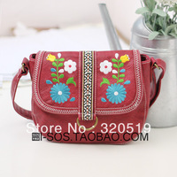 free shipping Mian magazine national trend embroidery flower unique Women messenger bag