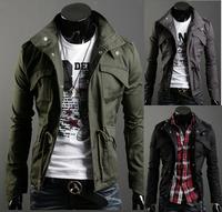 2014 New Fashion Slim Designed Plus Size M L XL XXL XXXL XXXXL Mens Jacket Coat Outerwear Blouse Colour:Black,Army green,Gray