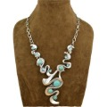 Min order is $10 ( mix order ) Vintage Look Tibetan Silver Exotic Casecade Pendant Round Turquoise Bead Necklace N022
