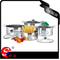 4pcs Stainless Steel Shallow Stock Cooking Pot Set with Glass Lid