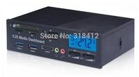 "Free shipping 5.25"" Media Dashboard Internal card reader with 2 ports USB HUB ESATA with LED"