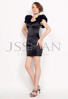 11C058 Little Blacks Flower Shoulder Straps Satin Above Knee Gorgeous Luxury Unique Brilliant Cocktail Dress Party Dress