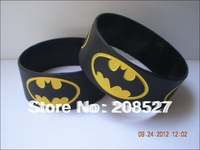 "Movie star bracelet, black BATMAN wristband, 1"" wideband, fashion silicon bracelets, promotion gift,50 pcs/lot, free shipping"