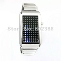 Fashionable 72-LED Stainless Steel Wrist Watch Wristwatch Blue Light Men Watches Wristwatches