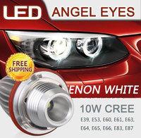 Free shipping.2Pcs/Set 10W CREE LED Angel Eyes For BMW E39 E53 X5 E60 E61 E63 E64 E65 E66 E87