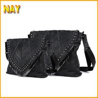 2 Sizes !! 2015 women's Bags Suede Punk Rivet  handbag genuine leather Shoulder bag big bags