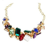 NS024  fashion multicolour gem mix match necklace wholesale charms statement necklace choker chunky TV-19.99