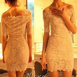 Sexy & Club Skinny Lace Dress Slash Neck Ruffles Free Shipping 2110710