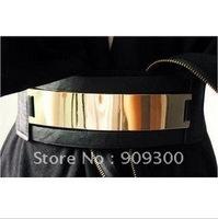 Freeshipping, 4pcs Hot-selling endurably mirror metal wide elastic belt women fashion mirror belts Promotinal gift