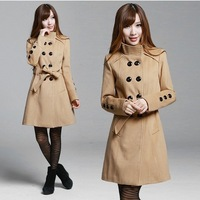 Women Double Breasted cashmere coat woman military wool jacket Lovely Girl Fashion Outerwear Outdoor Cashmere Warm Clothes