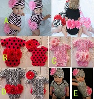 baby big flower rompers,baby Leopard rompers,toddler animal design rompers with hats 2pcs sets wholesale,ree shipping