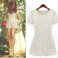 free shipping 2012 dresses women dress short sleeve mini dress white Lace cotton blends women playsuit /culottes/ pantskirt