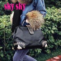 2012 Hot New Design Women Fashion Rivet Motorcycle Handbags Retrpo Doctor Shoulder Bag PU Leather Women  SK129
