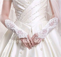 Freeshipping One pair White wedding bride long lace gloves Bride Evening gloves