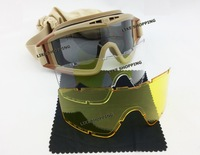 Tactical  Desert locusts Goggles Protection Glasses 3 Lens(DL-02-TAN)