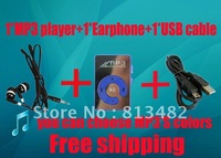 free shipping 1 set Mini Clip Mp3 Player,sport Mirror Mp3, TF card support + usb cable+earphone