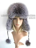 free shipping! Best Christmas gift! sweet! New Arrival Fashion women 100% genuine silver fox hair hat +fashion+warm