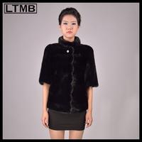 LTMB Women mink fur coat with half sleeve and mandarin collar Real sable fur short coat for ladies