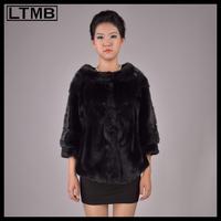 LTMB Women mink fur coat with short style o-neck collar three quarter sleeve Black mink fur short coat for ladies