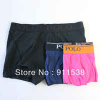 1pcs Free shipping Polo male 100% cotton comfortable mid waist solid color boxer shorts boxer shorts panties #