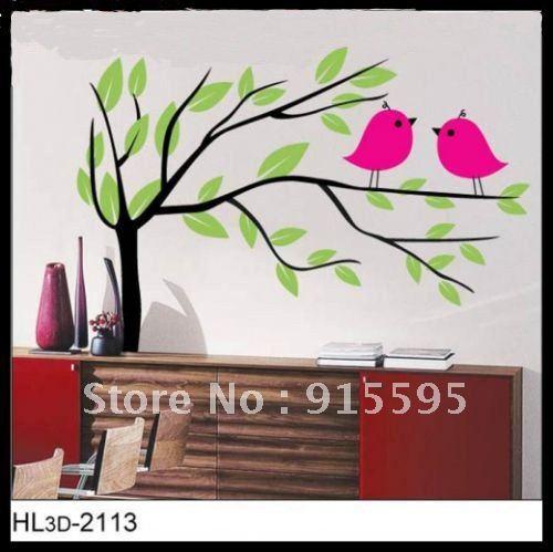 Free Shipping: 1Set =USD5.98 The happy tree sticker and bird Print type Fashion Wall Sticker /epoxy domes/funlife wall stickers(China (Mainland))